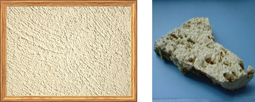 【コーラル(南部石灰岩)】 南部石灰岩が細かくなると石粉(イシグー)と呼ばれます。昔の沖縄集落道路といえばコーラルの白い道でした。調湿機能に優れた呼吸素材です。