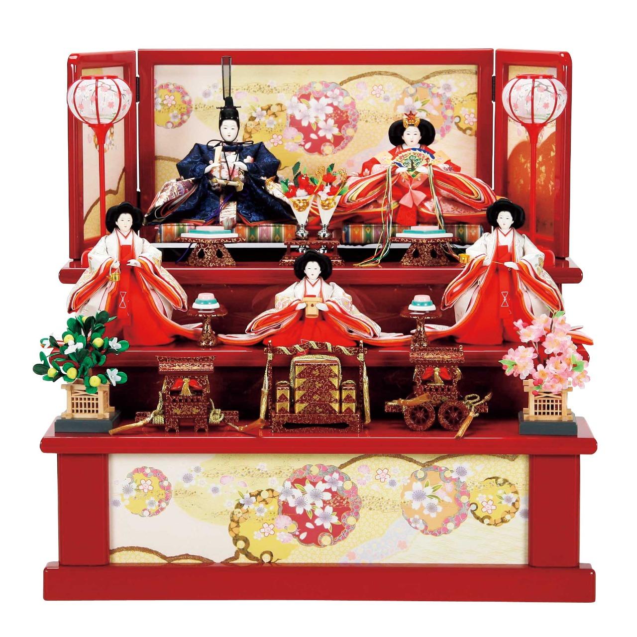 雪輪に桜/赤 五人飾り