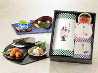 静岡茶・紀州梅干・焼海苔・カニ缶詰詰合せ